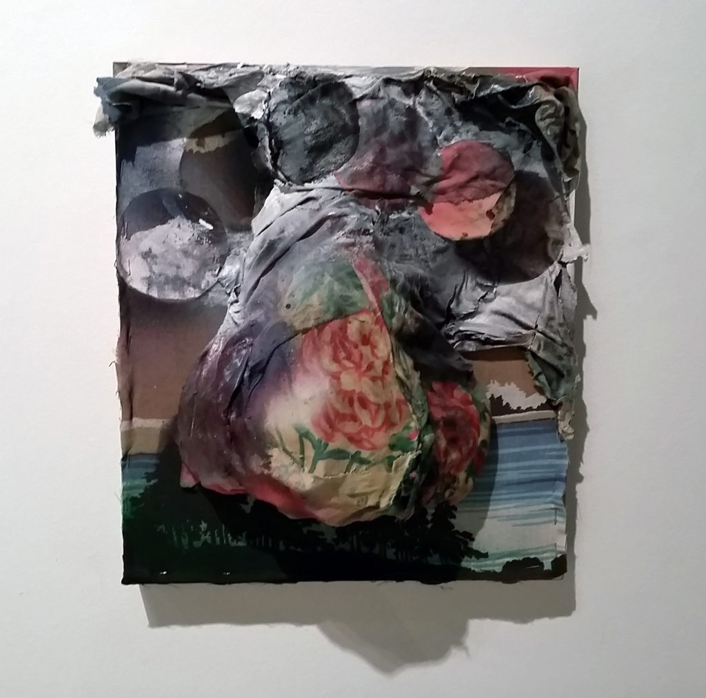 """April Bachtel, """"searching for Corpse Flowers,"""" acrylic, bedsheets, wood. Instructors & 2-Yr Grad Students Showcase, Sella-Granata Art Gallery, Aug 24 - Sept. 17, 2015"""