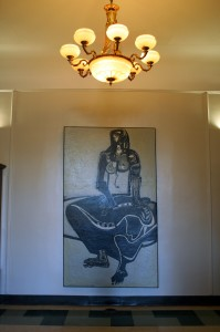 "Ben Smith, ""Cassandra,"" in the foyer of Morgan Hall"