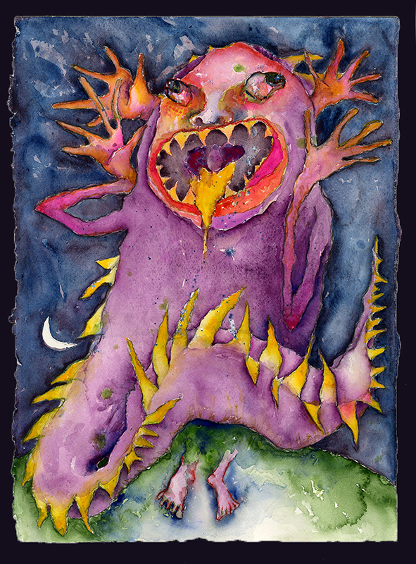 "Rachel Dobson, ""Large Disheveled Gojira,"" 2016, gouache, water-soluble colored pencil"