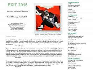 EXIT 2016 BA Senior Exhibition checklist, page 1.