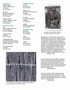 EXIT 2016 BA Senior Exhibition checklist, page 2.