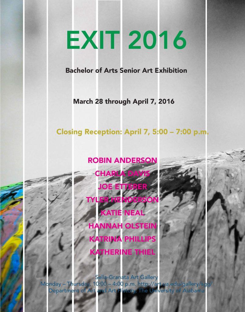 EXIT 2016 BA Senior Exhibition poster