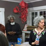 "Darius Hill and Claire Lewis Evans at an artist talk by the artists of ""Pretty Much: The Grocery"" in 2016, Paperworkers Local."
