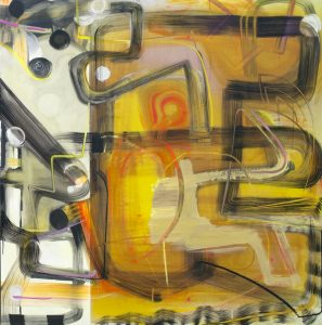 "Pinkney Herbert, ""20 jay 2,"" 2015, oil, digital print on wood, 60 x 60 inches."
