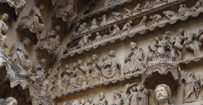 Jennifer Feltman at Reims Cathedral, Last Judgment Portal, north transept façade, ca. 1226-40 with later restorations.