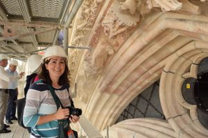 Dr. Jennifer Feltman at Reims Cathedral, west façade, late 13th century with later restorations.