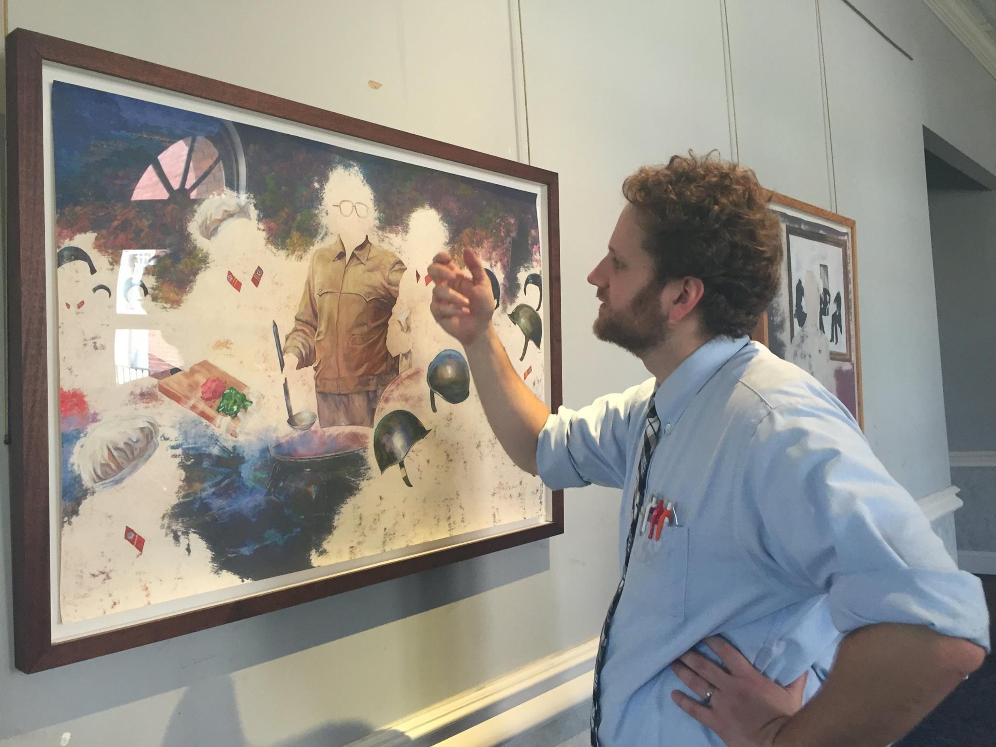 """Nicholas Tisdale at his exhibition, """"Excised,"""" at Judson College, 2016."""