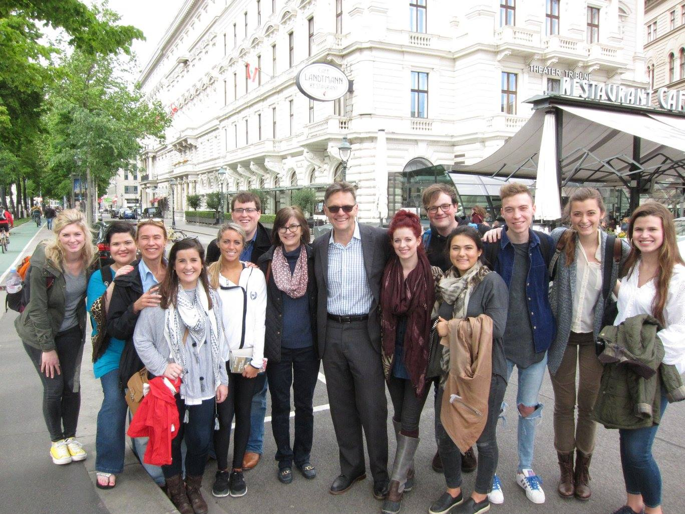 UA students in Vienna, May, 2016, with the Dean of the ...