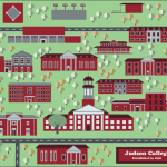 Student map of Judson College printed on aluminum, Jamie Adams' art class, 2017