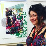 Checa Baldarelli with her screen print image