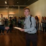 UA art students receiving scholarship awards at Honors Day 2016 in the Sarah Moody Gallery of Art.
