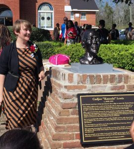 April Livingston with bust of Cudjoe Lewis