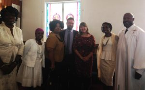 April Livingston (center) with Union Baptist church members.