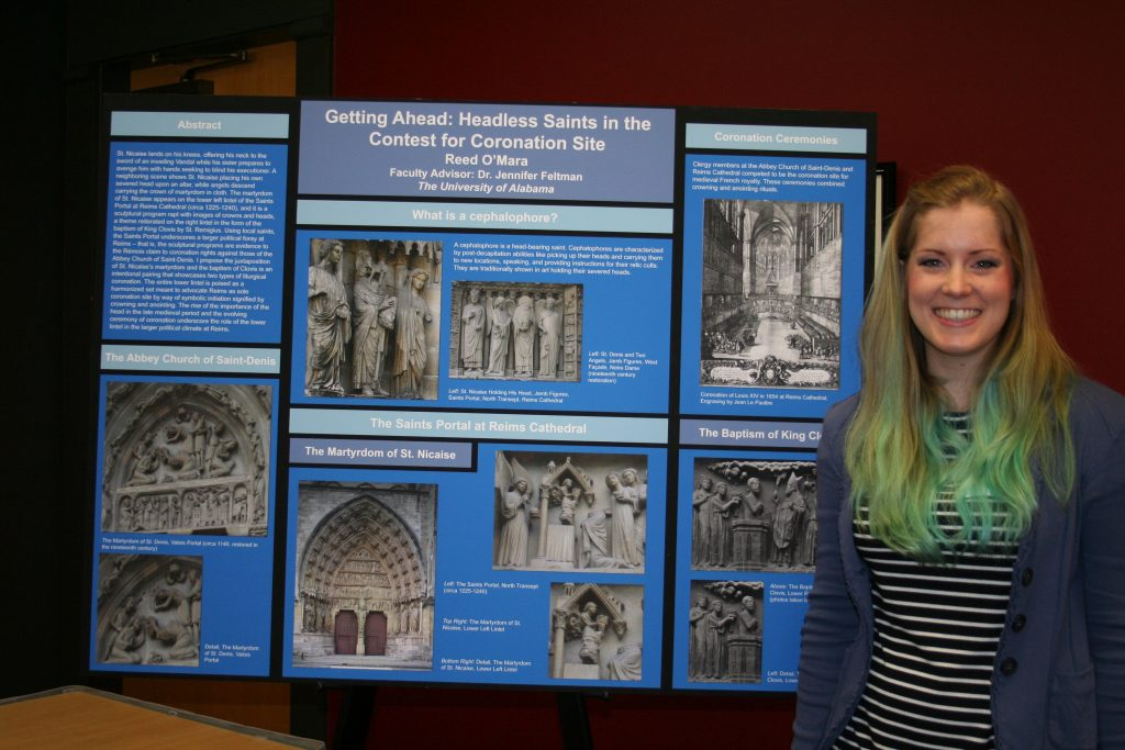 Reed O'Mara presents her art history research poster.