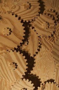 "Tobias Layman, ""Gear Go Round,"" kinetic wood sculpture, 2017"