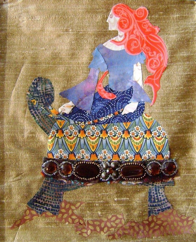 A fabric collage by alumni Linda Bell