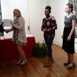 Jordan Hadley receiving a scholarship award.