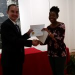Lane Pernell receiving a scholarship award.