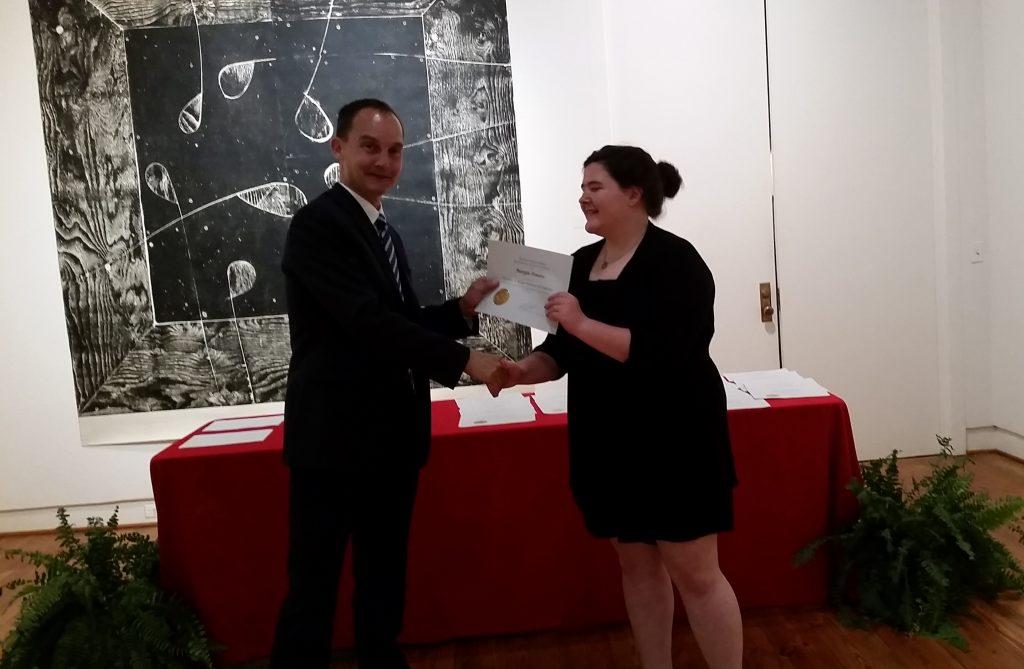 Margie Powers receiving a scholarship award.