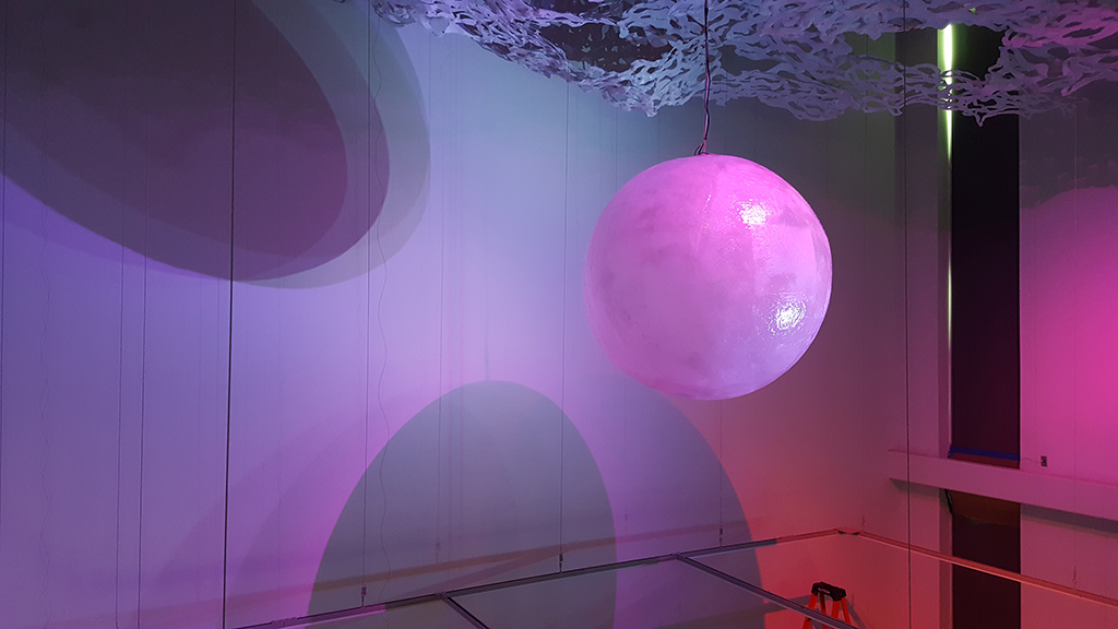 """Lighting tests for Jamey Grimes, """"Eclipse,"""" The New Gallery, Austin Peay State University, 2017"""