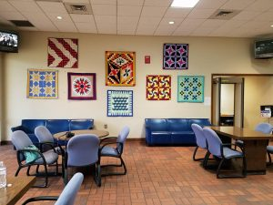Hallie O'Kelley Quilts hanging at the Tuscaloosa Juvenile Ct Lobby, 2017