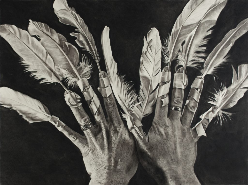 "Charlotte Wegrzynowski, ""Feathers Man,"" 2017."