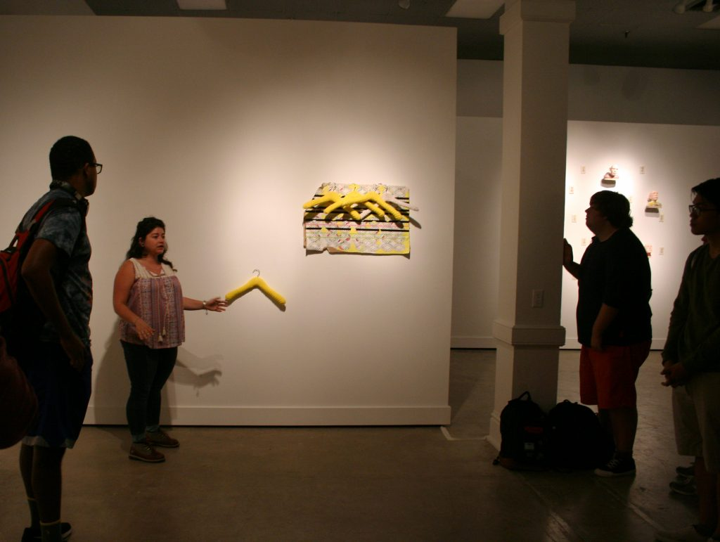 Francesca Baldarelli talking about her work in the Graduate Student Show