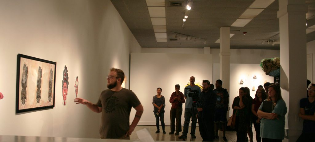 John Klosterman talking about his work in the Graduate Student Show