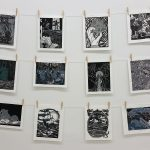 Linoleum block prints by students in ART 220