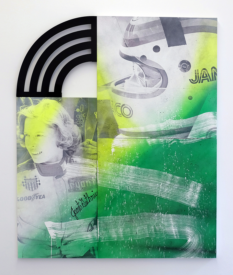 """Wendy White, """"Janet Guthrie,"""" 2017, acrylic and inkjet on three canvases, Dibond, 72 1/4 x 60 1/4 inches. Image courtesy of the artist."""