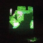 Multi-colored projection-mapped onto O'Brien's Castle on Inis Oírr by Jane Cassidy.