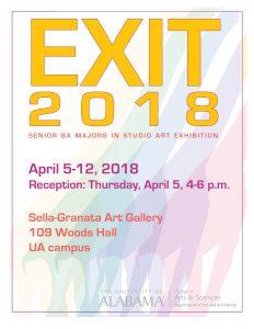Poster for Annual BA Exit Show, Sella-Granata Art Gallery, APR 5-12, 2018