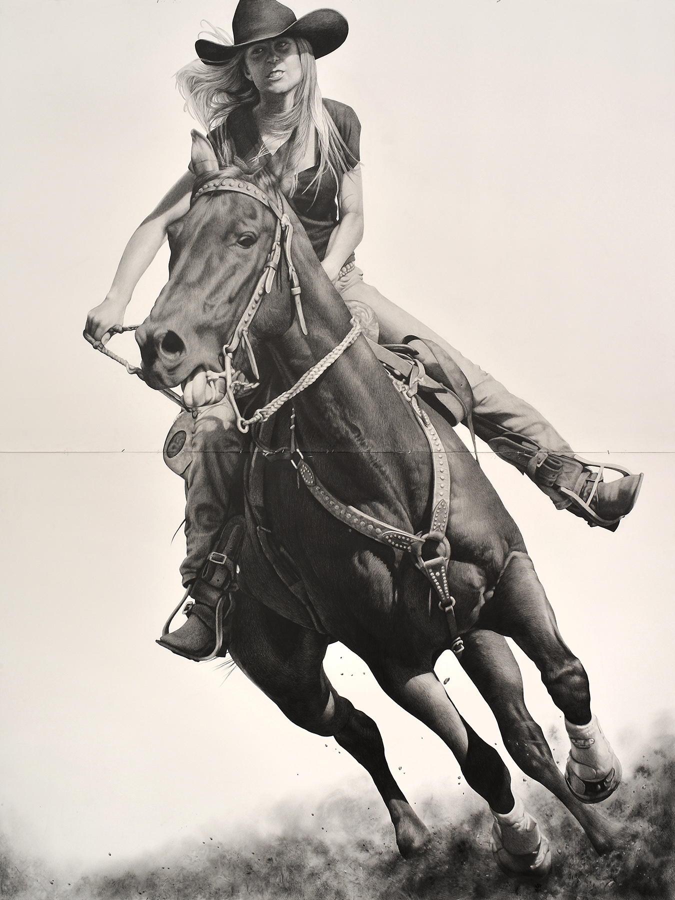 Karl Haendel, Rodeo 9, 2017, pencil and graphite powder on paper, 103 x 77 inches. Image courtesy of the artist.