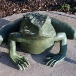 "Frank Fleming's first sculpture for CHES: ""Frank the Frog."""