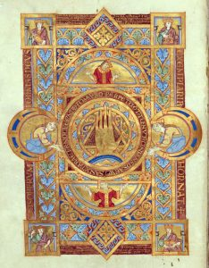 "Uta Codex, The Hand of God miniature: ""Miniatur: Hand Gottes im Mittelkreis von gleichseitigem Dreieck."" Munich, Bayerische Staats Bibliothek Clm. 13601, fol. 1v, ca. 1025)"