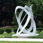 "Paget Kern, ""Mobius and Borromean Rings,"" welded steel, now in the Woods Quad Sculpture Garden"