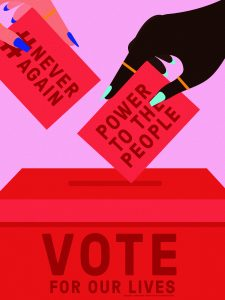 """""""Vote for Our Lives,"""" poster design by Laci Jordan (BA 2011), for Amplifier: https://amplifier.org/march-for-our-lives/"""