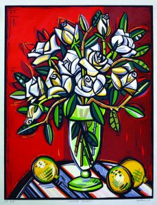 "David Bates, (American), ""White Roses,"" 2007. woodcut, from William and Sara Hall Collection, Permanent Collection of the Sarah Moody Gallery of Art."