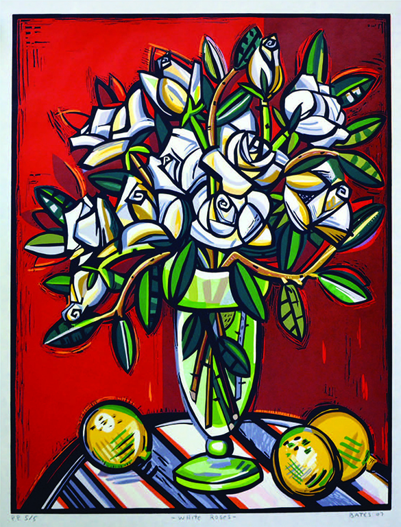 "David Bates, (American), ""White Roses,"" 2007. woodcut, from Sara and William Hall Collection, Permanent Collection of the Sarah Moody Gallery of Art."