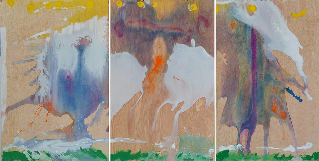"Helen Frankenthaler ""Book of Clouds,"" 2007, aquatint and porchoir on woodcut with handcoloring. 35 5/8 x 68 1/4 (overall). Sarah Moody Gallery of Art."