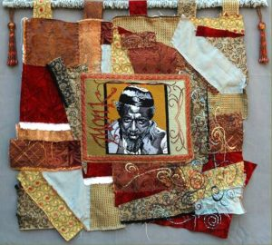 "Leanna Leithauser-Lesley, ""Thelonious Monk,"" needlepoint mounted on a hand stitched and beaded crazy quilt, 30""X30"""