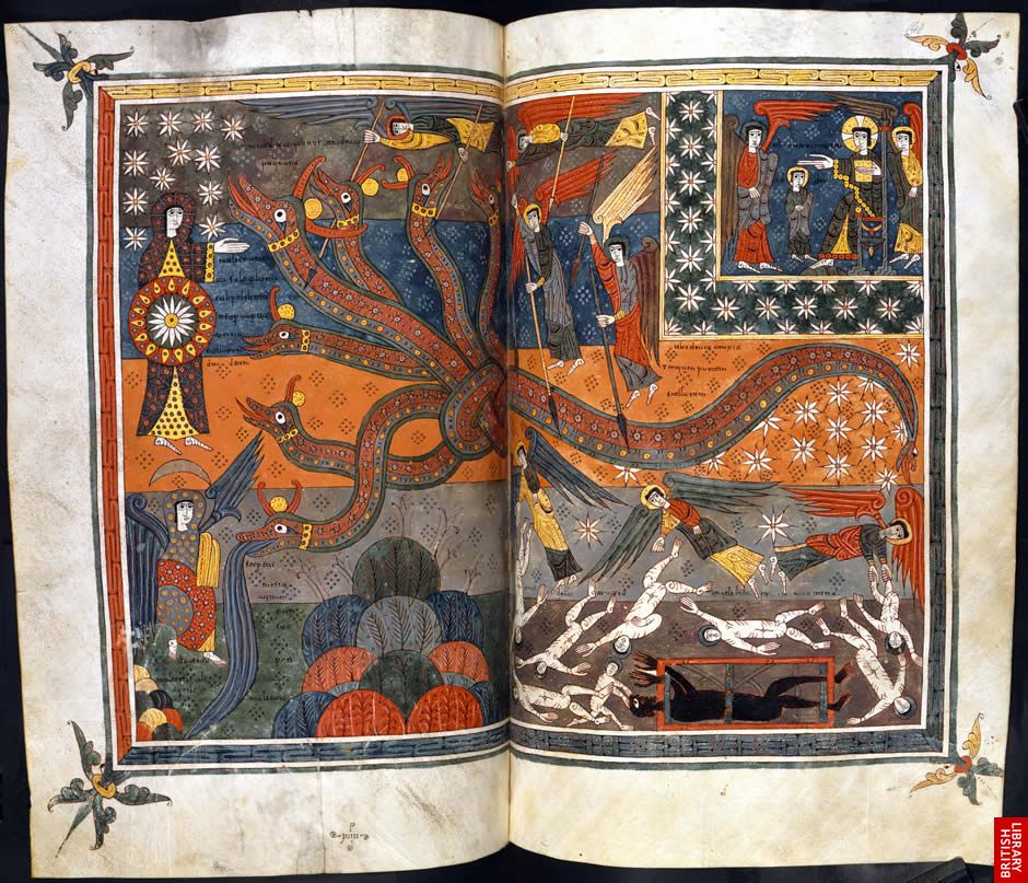 Page from a Spanish Apocalypse: Silos Apocalypse: Northern Spain, c.1100, British Library Add. MS 11695, ff.147v-148.