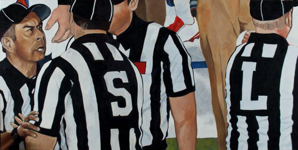 Tom Wegryznowski, Refs, 2017, oil on canvas, 24 x 48 inches