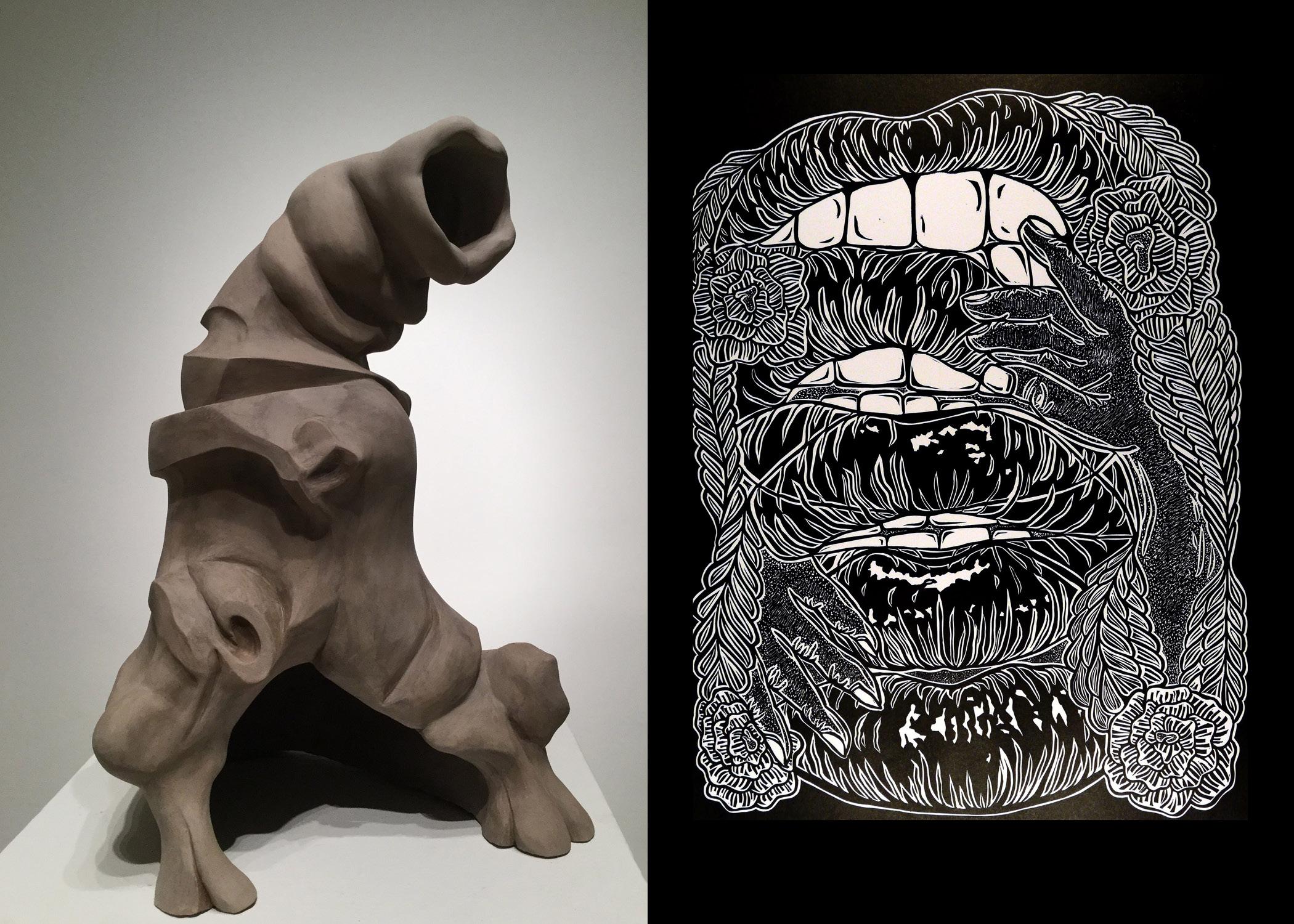 "Raw & Unfinished Business: Allie Gant and Jennifer Gault BFA Exhibition, Nov. 5-8, 2018, Sella-Granata Art Gallery. Left: Jennifer Gault, ""Temporary Love,"" 2016, 15 x 10 x 8 inches, unfired clay; right: Allie Gant, ""Lips,"" 2017, 22 x 30 inches, linoleum cut."