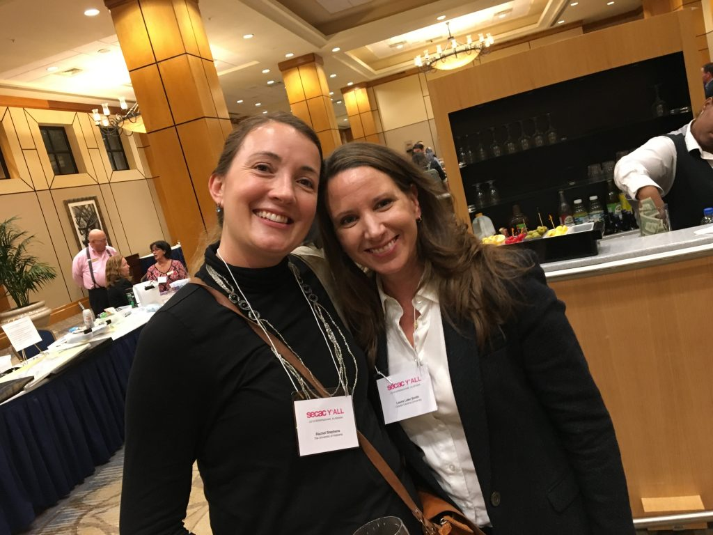 ARH alumna and new Ph.D. Dr. Laura Lake Smith with Dr. Rachel Stephens at SECAC Birmingham in Oct. 2018.