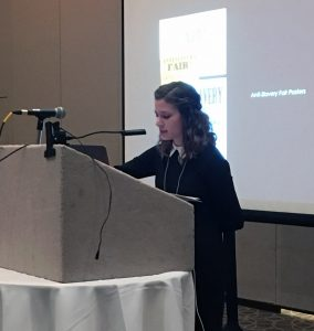 Art history graduate student Morgan Heard presenting thesis research at SECAC, Birmingham, 2018