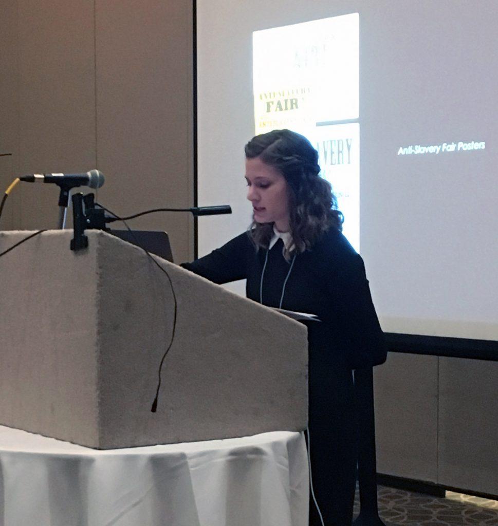 Art history graduate student Morgan Heard presenting thesis research at SECAC, Birmingham, 2018