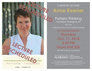 Anne Keener Lecture Rescheduled for Thursday, Oct. 11, 3:30 pm, Lloyd Hall 226. Join us for a reception in the gallery at 5pm.