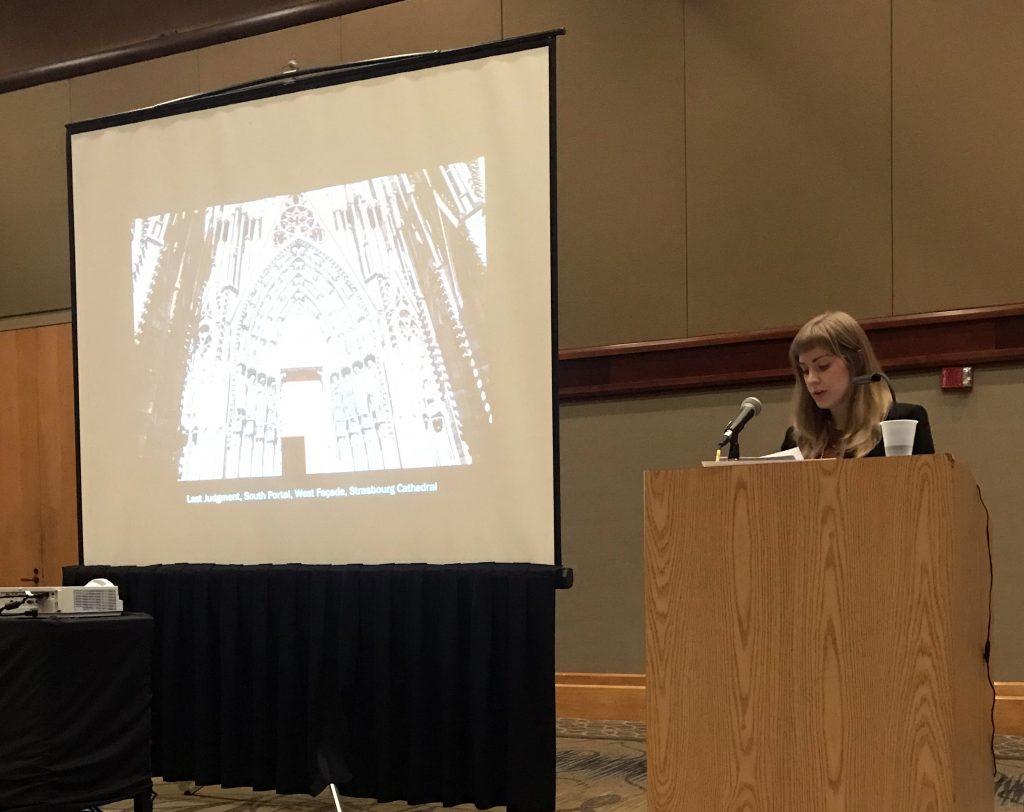 Alumna Reed O'Mara (BA 2017) presenting research at SECAC, Birmingham, 2018.