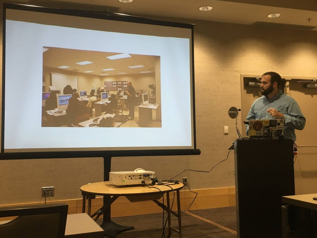 Jonathan Cumberland presenting at SECAC, Birmingham, Oct. 2018.